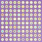 uppsättning för 100 symboler för teknisk service i tecknad filmstil stock illustrationer