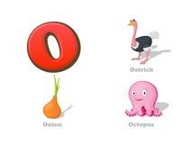 Uppsättning för symboler för unge för abcbokstavsnolla rolig: struts lök, bläckfisk Arkivbild