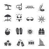 Uppsättning för symboler för utomhus- aktivitet för strand Arkivbilder