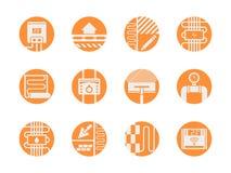 Uppsättning för symboler för varma golvmodeller rund orange Arkivbild