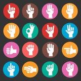 Uppsättning för symboler för vektor för handgester färgrik royaltyfri illustrationer