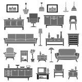 Uppsättning för symboler för vektor för hemmiljömöblemangobjekt stock illustrationer