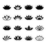 Uppsättning för symboler för vektor för Lotus blomma Arkivfoto