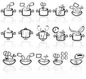 Uppsättning för symboler för vektor för matlagninganvisning. EPS 10. Royaltyfri Bild