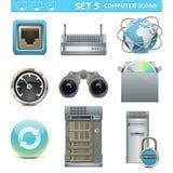 Uppsättning 5 för symboler för vektordator Arkivfoto