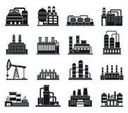 Uppsättning för symboler för fabrik för raffinaderiväxt, enkel stil royaltyfri illustrationer