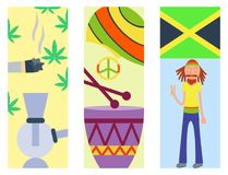 Uppsättning för symboler för ganja för Rastafarian cannabisfred royaltyfri illustrationer