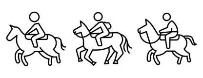 Uppsättning för symboler för hästryggridning, översiktsstil royaltyfri illustrationer