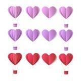 Uppsättning för symboler för hjärta för vektorvalentinorigami Arkivbilder