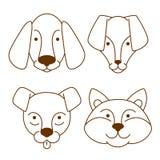 Uppsättning för symboler för hundkapplöpninghuvud Royaltyfri Bild
