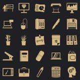 Uppsättning för symboler för kontorsarbetare, enkel stil royaltyfri illustrationer