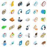 Uppsättning för symboler för kontorsarbetare, isometrisk stil royaltyfri illustrationer
