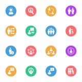 Uppsättning 16 för symboler för lägenhet för affärsstrategi vit Arkivbild