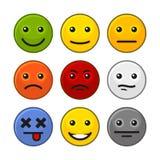 Uppsättning för symboler för leende för kundåterkoppling på vit bakgrund vektor arkivfoto