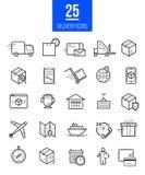 Uppsättning för symboler för leveransapp modern linjär Vektorlogistiklinje stilsymboler Royaltyfri Foto