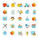 Uppsättning för symboler för leveransapp modern plan Ljusa symboler för vektorlogistik Royaltyfria Foton
