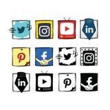 Uppsättning för symboler för massmedia för rolig tecknad filmstil social stock illustrationer