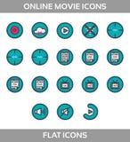 Uppsättning för symboler för massmediaspelare multimedior isolerat royaltyfri illustrationer
