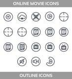 Uppsättning för symboler för massmediaspelare multimedior isolerat Vektorillustration, perfekt uppsättning för PIXEL stock illustrationer