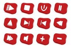 Uppsättning för symboler för massmediaspelare multimedior också vektor för coreldrawillustration stock illustrationer