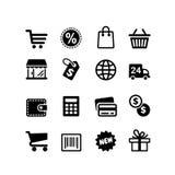 uppsättning för 16 symboler. Shoppingpictograms Royaltyfri Fotografi
