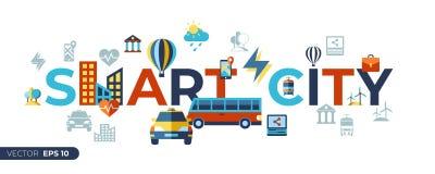 Uppsättning för symboler för stad för Digital vektor smart royaltyfri illustrationer