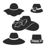 Uppsättning för symboler för svarta hattar för vektor Arkivfoton