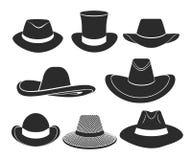 Uppsättning för symboler för svarta hattar för vektor Royaltyfri Foto