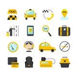 Uppsättning för symboler för taxiapp-lägenhet Vektorloppsymboler Royaltyfri Bild