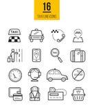 Uppsättning för symboler för taxiapp linjär Vektorlopplinje stilsymboler Royaltyfria Bilder