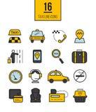 Uppsättning för symboler för taxiapp linjär Vektorlopplinje stilsymboler Arkivfoton