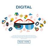 Uppsättning för symboler för teknologi för Digital vektor wearable stock illustrationer