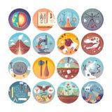 Uppsättning för symboler för utbildnings- och vetenskapslägenhetcirkel Ämnen och vetenskapliga discipliner Vektorsymbolssamling vektor illustrationer