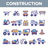Uppsättning för symboler för vektor för byggnationbeståndsdelar linjär royaltyfri illustrationer