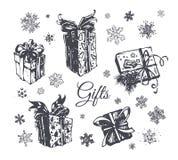 Uppsättning för symboler för vektor för hand för julgåvaask utdragen royaltyfri illustrationer