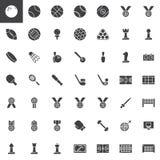 Uppsättning för symboler för vektor för sportutrustning vektor illustrationer