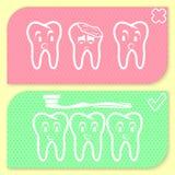 Uppsättning för tandhygiensymbol Royaltyfri Bild