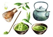 Uppsättning för teceremoni Matcha pulver, tekrukan, kopp av den traditionella organiska gröna matchaen, bambu viftar, träskeden vektor illustrationer