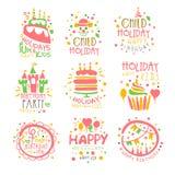 Uppsättning för tecken för Promo för underhållning för ungefödelsedagparti av färgrika vektordesignmallar med festliga symboler Arkivbild
