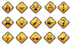 Uppsättning för tecken för varning för runt hörn för fara Arkivbild