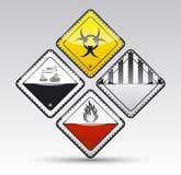 Uppsättning för tecken för varning för runt hörn för fara Royaltyfri Bild