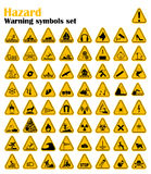 Uppsättning för tecken för varningsfaratriangel också vektor för coreldrawillustration Gula symboler på vit Arkivbild