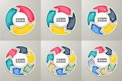 Uppsättning för tecken för vektorcirkelpilar infographic Cirkuleringsdiagram, symbolgraf, pussel Fotografering för Bildbyråer