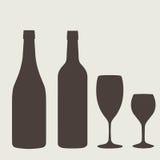 Uppsättning för tecken för vinflaska Flasksymbol arkivbilder