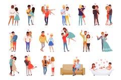 Uppsättning för tecken för unga män och kvinnaförälskad krama, lycklig romantiker som älskar illustrationer för partecknad filmve royaltyfri illustrationer