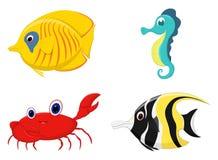 Uppsättning för tecknad film för havsfisk royaltyfri illustrationer
