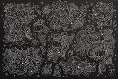 Uppsättning för tecknad film för klotter för svart tavlavektor hand dragen av Royaltyfri Foto