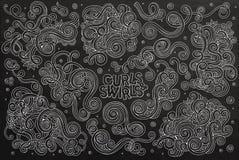 Uppsättning för tecknad film för klotter för svart tavlavektor hand dragen av Fotografering för Bildbyråer