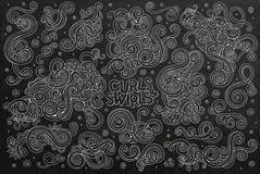 Uppsättning för tecknad film för klotter för svart tavlavektor hand dragen av Royaltyfria Bilder