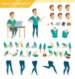Uppsättning för tecknad film för konstruktör för kontorsarbetare royaltyfri illustrationer